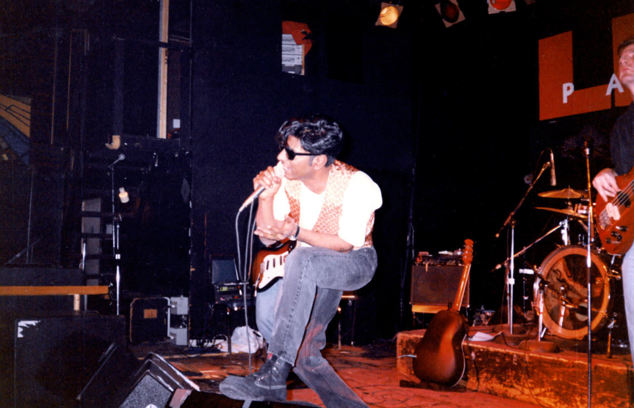 Don as the vocalist and guitarist for his rock band, Between the Lines, performing at Lee's Palace in Toronto in 1994.