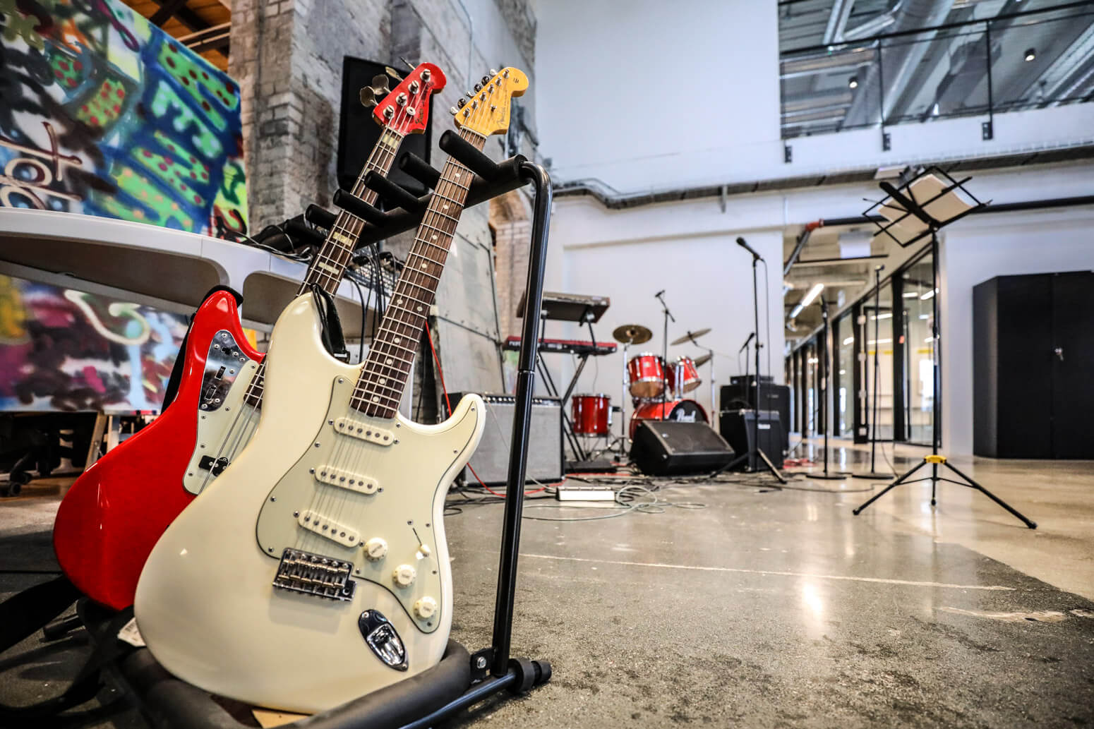 Vena Solutions new office offers an impressively equipped jam space.