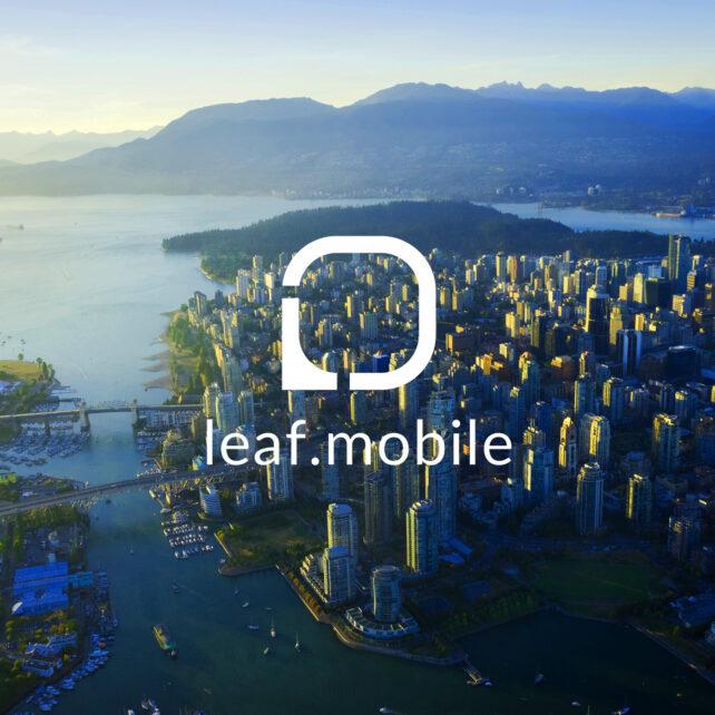 Leaf Mobile logo over Vancouver skyline
